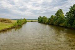 Flod i ett skogsbevuxet område Fotografering för Bildbyråer