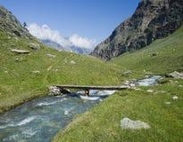 Flod i fjällängar Arkivbilder