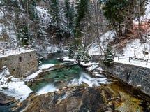 Flod i fjällängarna under vinter Royaltyfri Bild