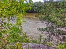 Flod i Oklahoma som ses mellan träd som står på en klippa royaltyfri fotografi