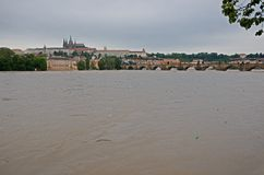 Flod i Prague Arkivbild
