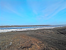 Flod i Siberia Arkivbilder