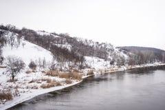 Flod i vinter royaltyfri fotografi