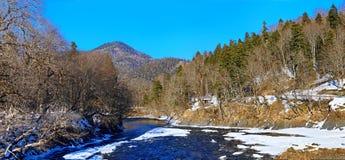 Flod i vinter under snö arkivfoto