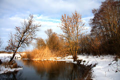 Flod i vintern arkivfoton