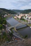 Flod Labe i Decin, Tjeckien Royaltyfri Foto