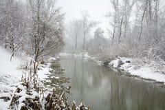 Flod lite Danube i vinter Arkivfoton