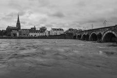 Flod Maas i i stadens centrum Maastricht med en sikt på ölbryggeriet arkivbilder