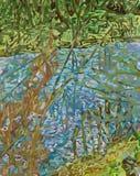 Flod med Bullrushes Royaltyfri Bild