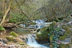 Flod med lilla vattenfall royaltyfria foton