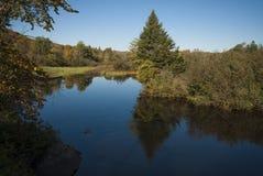 Flod med lock på början av nedgången Fotografering för Bildbyråer