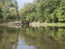 Flod med tunnelen och träd Royaltyfri Bild