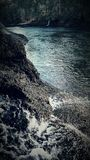 Flod med vattenfall Arkivfoto