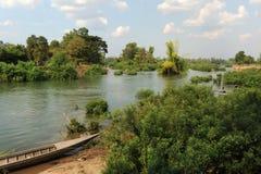 Flod Mekong på den universitetslärareKhon ön Royaltyfria Foton