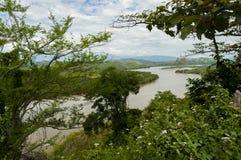 Flod mellan berg och naturen royaltyfri bild