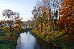 Flod Moehne på Guenne i Tyskland Royaltyfria Foton