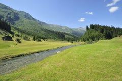 Flod nära Olivone, Schweitz Arkivbilder