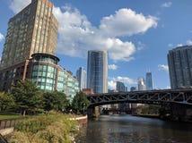 Flod norr Chicago River royaltyfria bilder