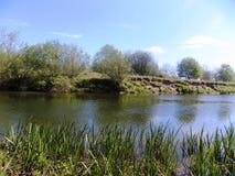 Flod Nr Crookham norr Northumberland, England Royaltyfria Bilder