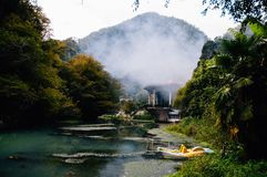 Flod nya Athos, Abchazien Arkivbilder