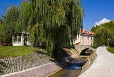 Flod och bro i splittring, Kroatien royaltyfri foto