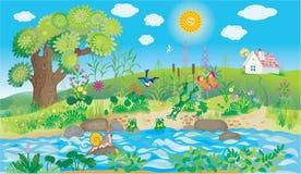 Flod och natur i byn Fotografering för Bildbyråer