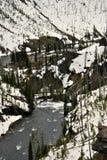 Flod och snö Arkivfoto