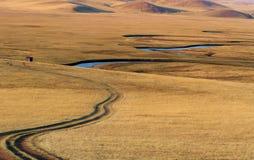 Flod och väg Fotografering för Bildbyråer