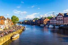 Flod Ouse i York på en solig dag, Yorkshire, England, eniga Ki Fotografering för Bildbyråer