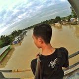 Flod på Borneo Arkivfoto