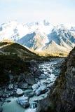 Flod på monteringskocken National Park, södra ö, Nya Zeeland Royaltyfria Foton