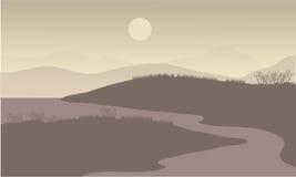Flod på nattlandskap Arkivbild
