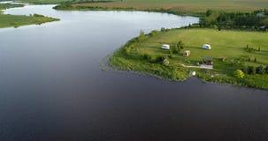 Flod på sikten för morgonfågelöga stock video