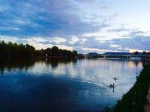 Flod på solnedgången Royaltyfria Bilder