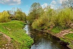 Flod Panke i Pankow, Berlin, Tyskland Fotografering för Bildbyråer