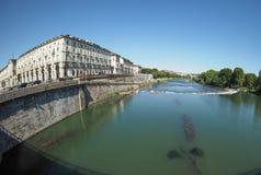 Flod Po i Turin Fotografering för Bildbyråer