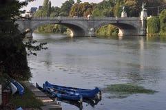 Flod Po i Turin Arkivfoto