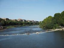 Flod Po i Turin Arkivfoton