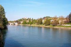 Flod Po på Turin Royaltyfri Fotografi