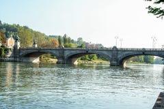 Flod Po på Turin Royaltyfria Bilder
