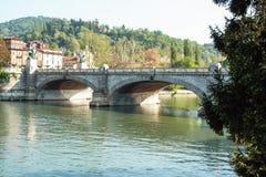 Flod Po på Turin Arkivfoto