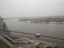 Flod Pripyat i staden av Mozyr arkivbilder