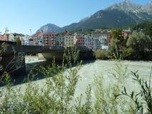 Flod Salzach på Salzburg Österrike royaltyfri foto