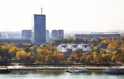 Flod Sava i Belgrade serbia Arkivfoto