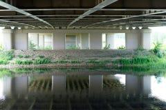 Flod som flödar under bron med perspektivsikt av konkret kolonner och shoreline fotografering för bildbyråer