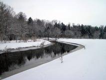 Flod Sysa och snöig träd i vinter, Litauen Arkivfoton