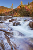 Flod till och med nedgånglövverk, lägre nedgångar för snabb flod, NH, USA Arkivfoto
