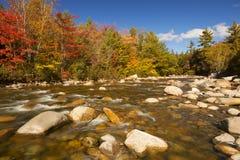 Flod till och med nedgånglövverk, snabb flod, New Hampshire, USA Royaltyfri Foto