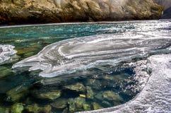 Flod under den djupfrysta floden Fotografering för Bildbyråer