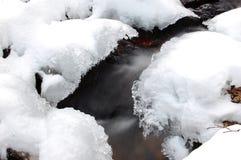 Flod under vinter Arkivbild